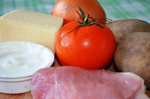 рецепты мясо по-французски с грибами и помидорами в духовке