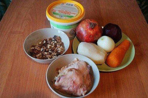 рецепт мясного салата с орехами