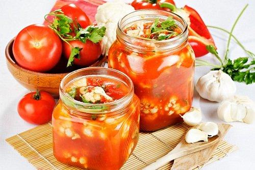 Рецепт цветной капусты в томате на зиму