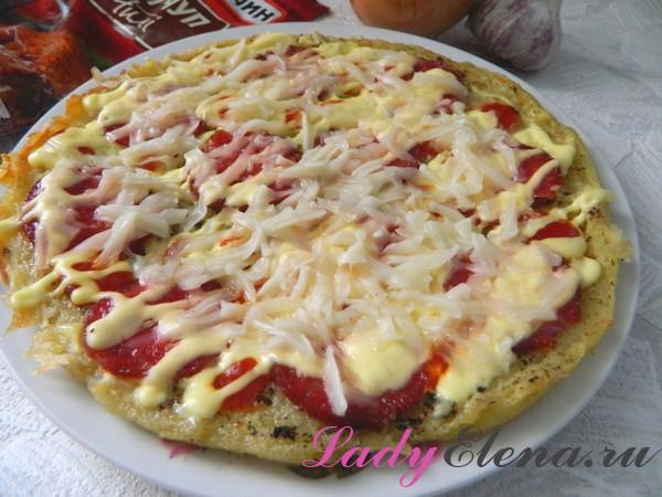 Пицца дрожжевая на сковороде - рецепт пошаговый с фото