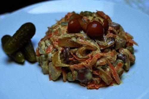 Оригинальный грибной салат с опятами