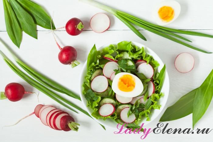 Легкий салат на основе редиски и яиц