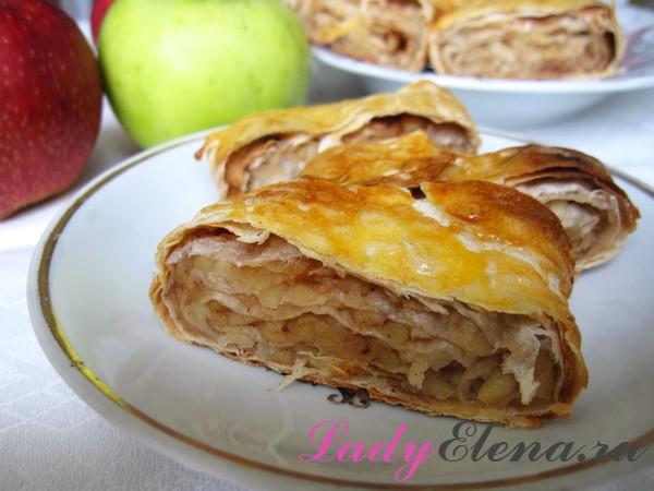 Фото рецепт штруделя из лаваша с яблоками