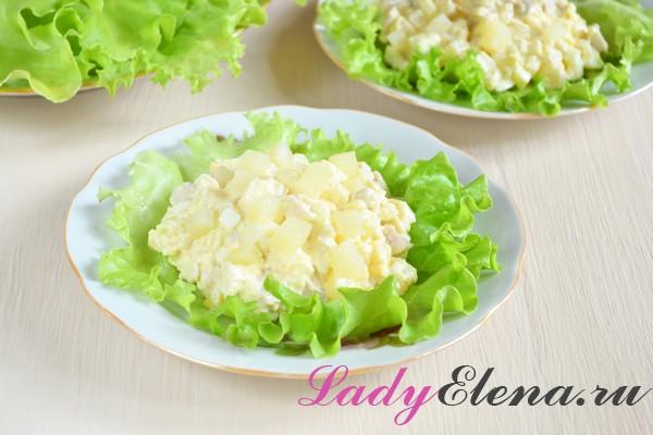 Фото рецепт салата из курицы и ананасов