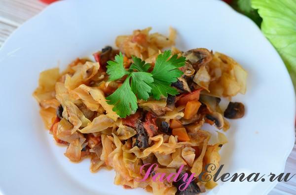 Фото рецепт тушеной капусты с грибами