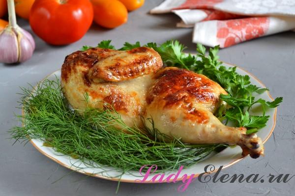 Курица в кефире, запеченная в духовке фото рецепт