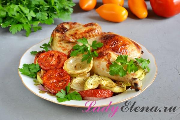 Фото рецепт курицы под майонезом с овощами в духовке