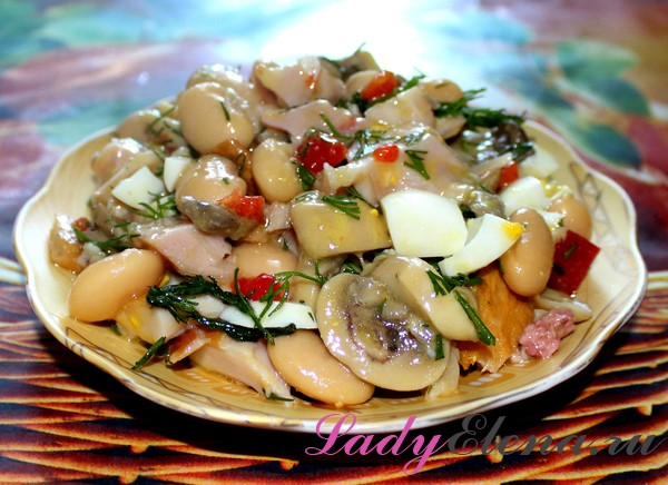 Фото рецепт грибного салата с фасолью
