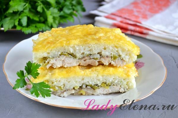 Фото рецепт запеканки из куриной грудки с рисом