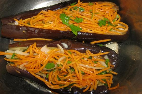 Рецепт квашеных баклажанов, фаршированных овощами