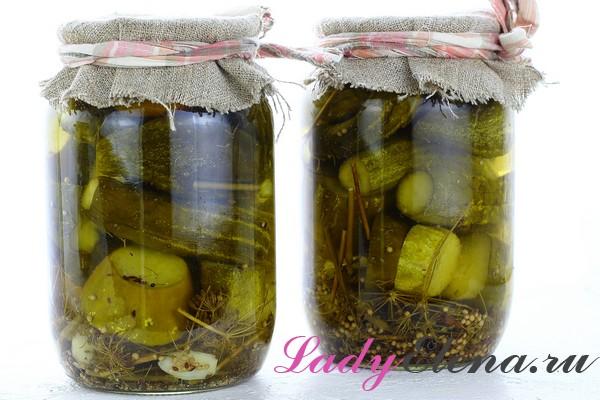 Фото рецепт огурцы маринованные в литровых банках