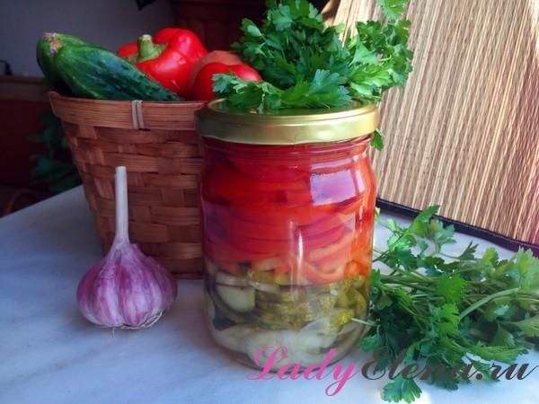 Заготовка из помидоров и огурцов на зиму