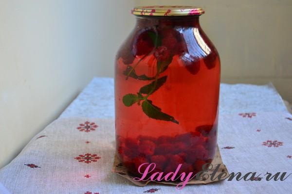 Фото рецепт компота из малины с мятой