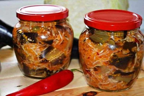 Салат на зиму: баклажаны и капуста