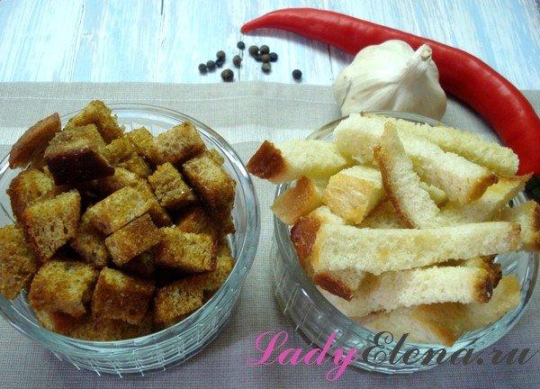 Сухарики из белого и ржаного хлеба фото-рецепт