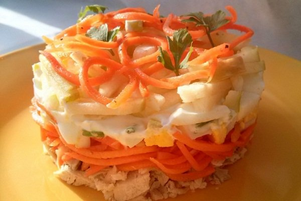 Салат с курицей, картошкой и морковью