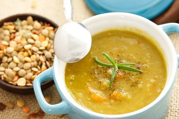 Суп-пюре из зеленой чечевицы