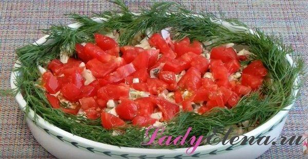 Салат из курицы и капусты с помидорами
