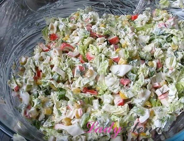 Салат из крабовых палочек и пекинки
