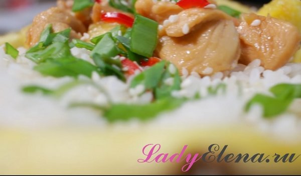 Курица с рисом в ананасе