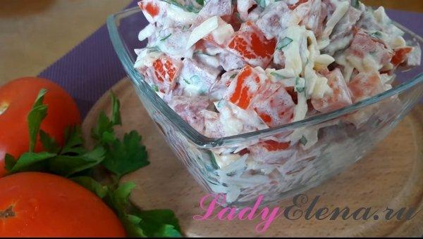 Быстрый салат из колбасы