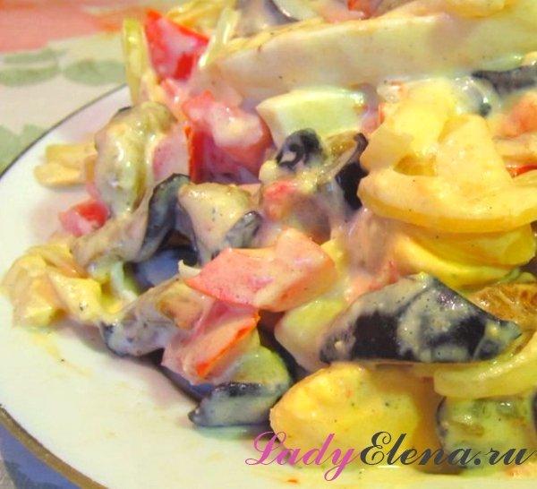 Салат из жареных баклажаном рецепт с фото