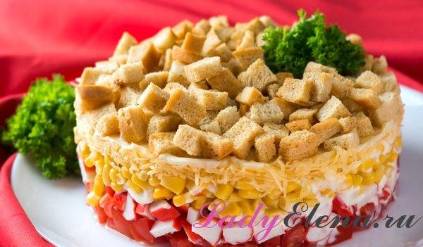 Салат из крабовых палочек слоями фото-рецепт