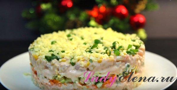 Салат с креветками слоями фото-рецепт