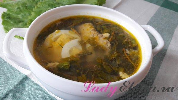 Зеленый борщ с яйцом фото-рецепт