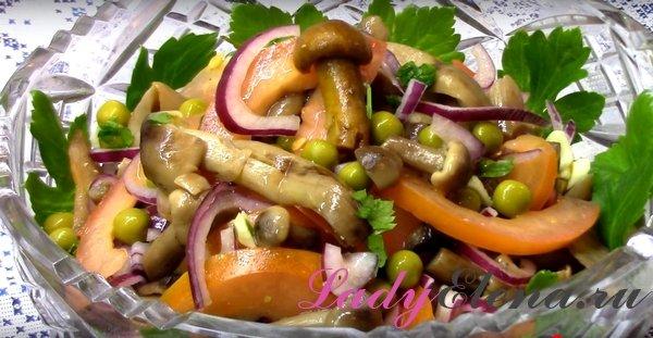 Салат с грибами и помидорами фото рецепт
