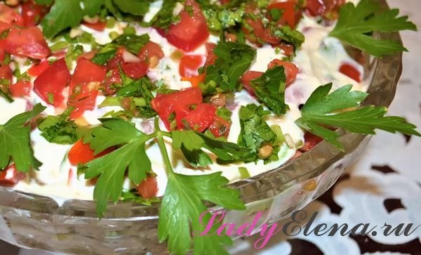 Салат из жареных кабачков с помидорами слоями