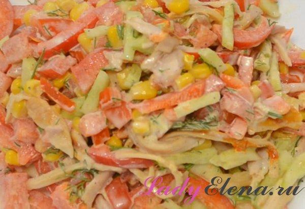 Салат из копченой курицы с овощами фото-рецепт