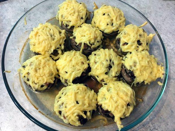 Грибы с фаршем в духовке фото-рецепт
