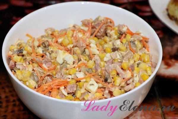 Салат из моркови по-корейски с копченой курицей