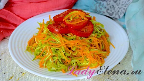 Корейский салат из кабачков и морковки
