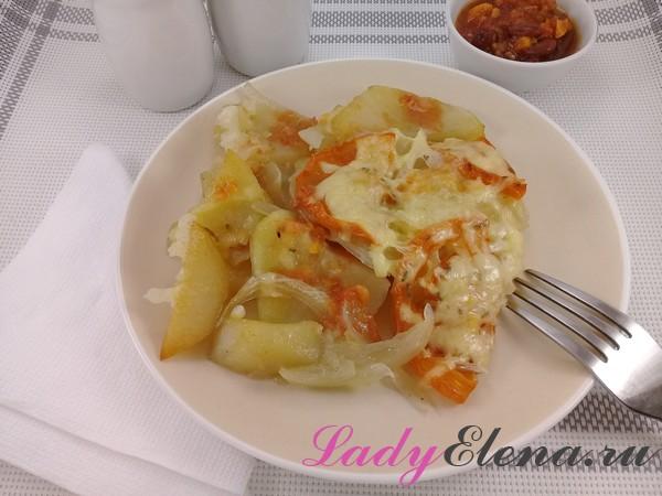 Картошка с помидорами и сыров фото-рецепт