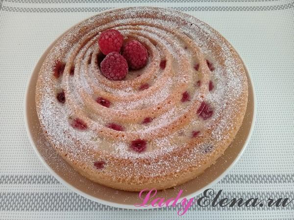 Пирог с замороженной малиной фото-рецепт