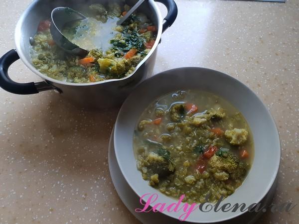 Суп из брокколи с горохом