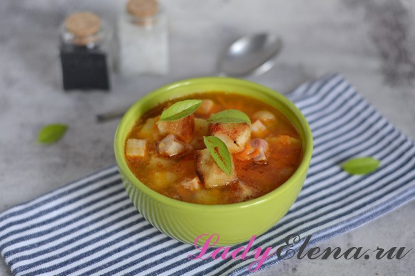 Суп гороховый с копченостями фото-рецепт